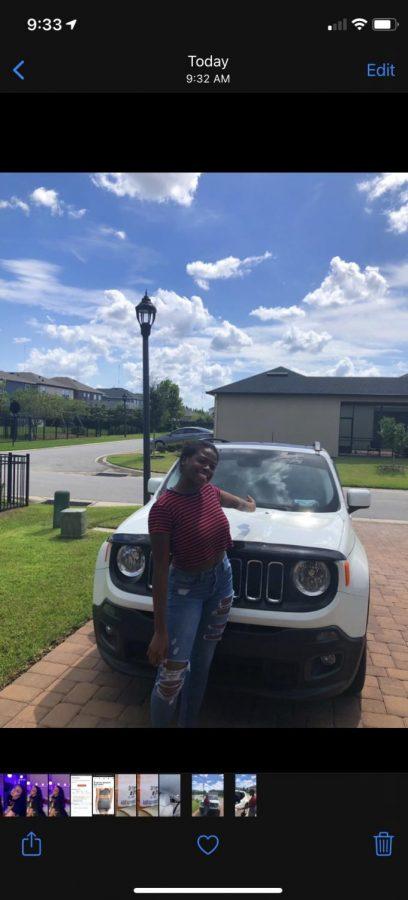 Makayla and her car, Wanda White.